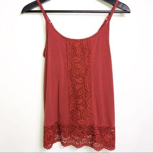 Soma Red Lace Built In Bra Tank Top Cami XS